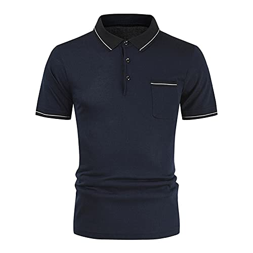 Camisa de patchwork para hombre, manga corta, para verano, ajustada, informal, ajustada, a rayas B_negro. XL