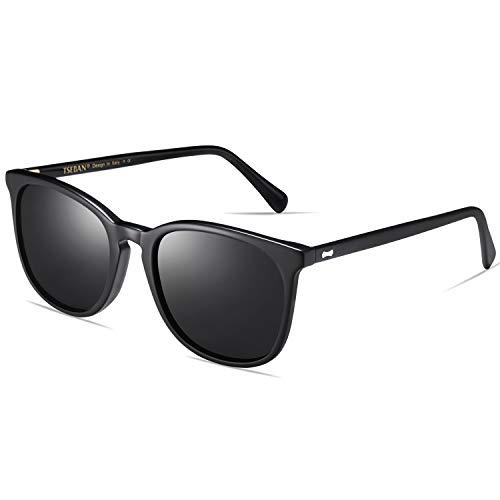 TSEBAN Vintage Damen Sonnenbrille Polarisierte Frauen Brille, Acetat-Rahmen & UV 400 Schutz (Rahmen: Schwarz; Linsen: Schwarz)