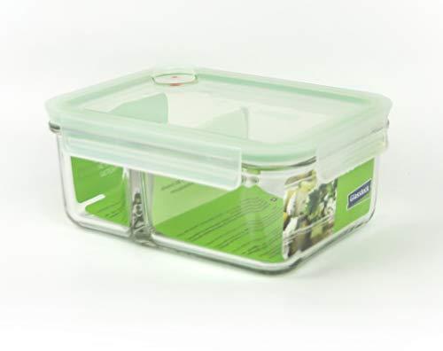 GLASSLOCK ( MCRK-092A Rechteckige Vorratsdose aus temperiertem Glas mit Ventil (920ml) Box-to-go Air Type - Mikrowellen