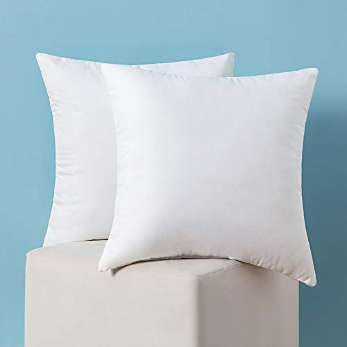 MIULEE 2 Pieces Warm and Soft fluffy Plump White Cushion Inner for Decorative Cushion Cover in Bed Sofa Outdoor pillow Inner 14x14inch 35x35cm Polyester Cotton