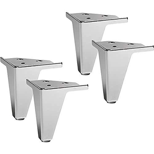 IPEA 4X Piedini per Mobili, Divani, Poltrone, Armadi Modello Gemma – Set di 4 Gambe in Ferro – Design Elegante Colore Metallo Cromato, Altezza 105 mm