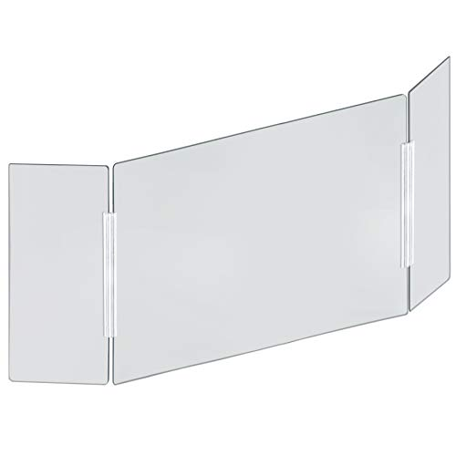 Azar Displays Tri-Fold Protective Sneeze Guard for Counter and Desk - Portable Plexiglass Barrier (Pack of 1) - Acrylic Desk Shield with side wing panels. Plastic Shield for Desk