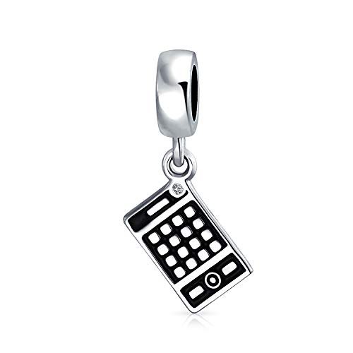 Personalized Bookkeeper Accountant Math Wiz Calculator Dangle Bead Charm For Women Oxidized .925 Sterling Silver Fits European Bracelet Custom Engraved