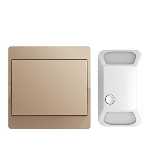 CXXDD Interruptor inalámbrico autoalimentado 433Mhz Control Remoto RF Push 110-220V Panel Inteligente de Pared del hogar Sin batería 1 2 Gang 1 2 Controlador (Color : Gold)