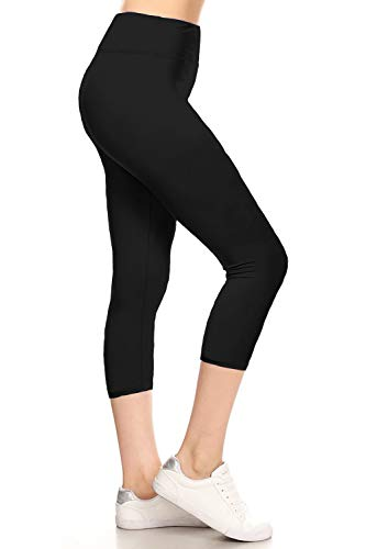 LYCP3X5X128-BLACK3 Yoga Capri Solid Leggings, 3X5X
