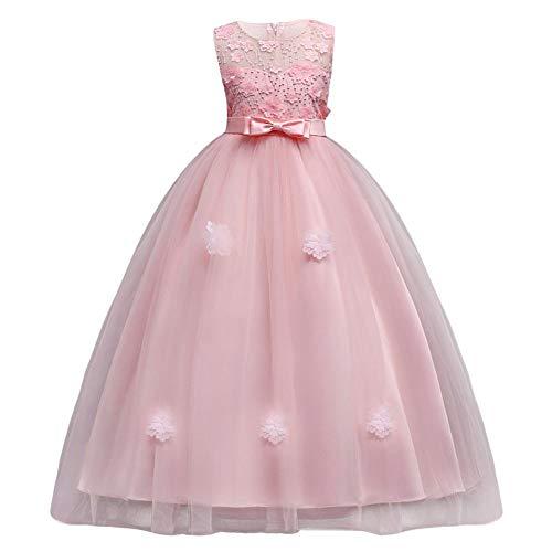 Vestido de Niña de Flores Princesa Vestido sin Mangas Bowknot Vestidos de...