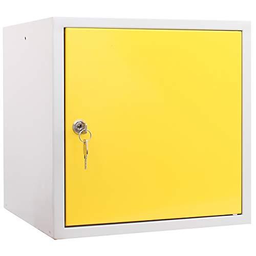 newpo Schließfachwürfel | HxBxT 35 x 35 x 35 cm | Gelb | Garderobe Schließfach Schließfachschrank Schließwürfel Spind Umkleideschrank Wertsachenschrank