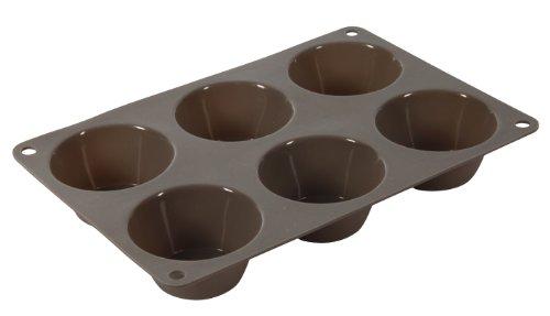 Crealys 513009 Moule à 6 Muffins en Silicone Candy Gris 24 x 16,5 cm