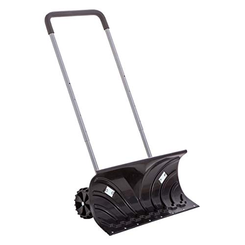 SHANTRA Wheeled Snow Shovel, Rolling Snow Pusher 26-in Heavy Duty Adjustable Snow Push Plow on Wheels Snow Removal Tool for Driveway, Pavement or Path