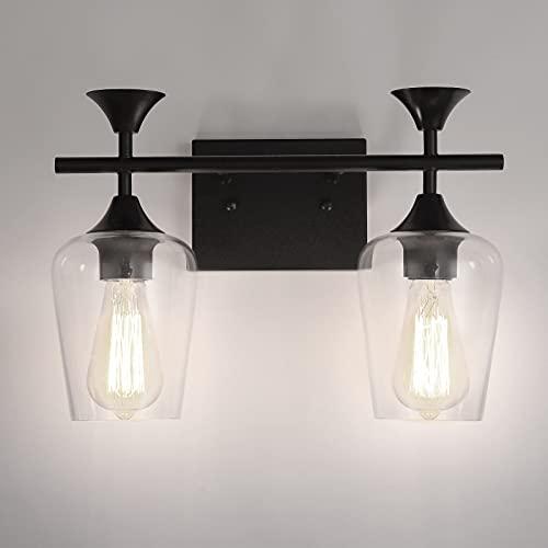 Accesorios de luz de baño, accesorios de iluminación de vanidad negros, 2 luces con pantalla de cristal transparente y base de metal, accesorios de luz para baño, mesa de...