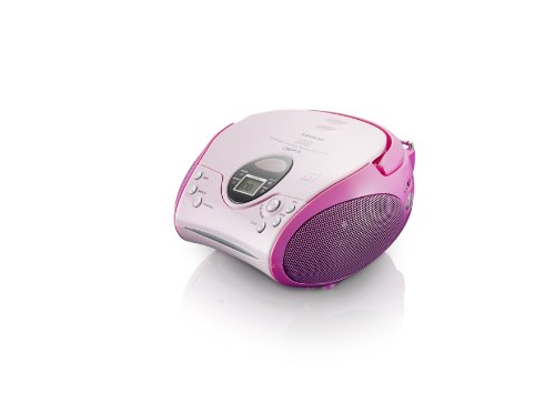 Lenco SCD-24 MP3 Stereo UKW-Radio (CD/MP3-Player, Teleskopantenne) pink