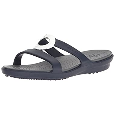 Crocs Women's Sanrah Hammered Met W Flat Sandal, Navy/Charcoal, 9 M US