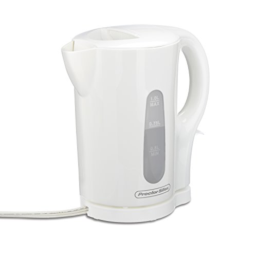 Proctor Silex Electric Tea Kettle, Water Boiler & Heater, 1 L, Cordless, Auto-Shutoff & Boil-Dry Protection, White (41005)