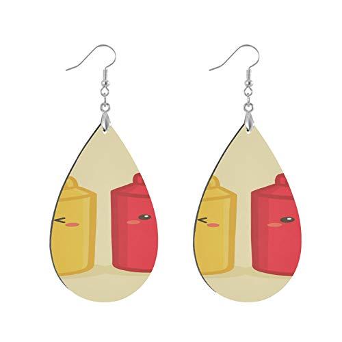 XHYYY Teardrop Wooden Earrings Drop Dangle Earings Lightweight Cute Mustard Tomato Ketchup Bottle Teardrop Earring Round Circle Earring And For Women Girls