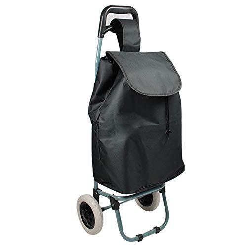 Helo Einkaufstrolley klappbar mit 30 Liter Volumen (nur 1,5 kg leicht), Einkaufsroller mit Abnehmbarer Tasche, stabilem Trolley Metallgestell und ergonomischem Griff (Schwarz)