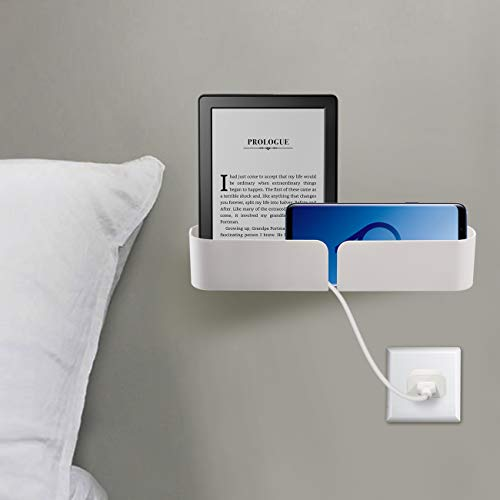 Easy & Eco Life Bett-Organizer, Aufbewahrungsschrauben und selbstklebende Zwei-Wege-Installation, geeignet zum Aufladen von Handys, iPads, Powerbanks, hält bis zu 3,6 kg weiß
