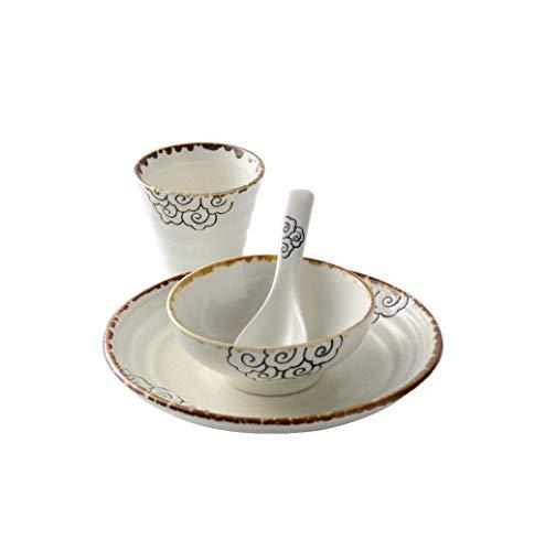 ZLININ De Estilo japonés vajilla de cerámica Inicio de una Sola Persona Placa tazón Conjunto de los Alimentos a Juego Taza de la Cuchara