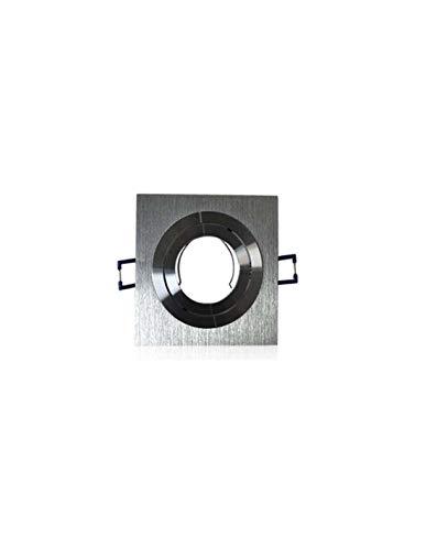 Support spot carré encastrable orientable aluminium - Aluminium brillant - MR16