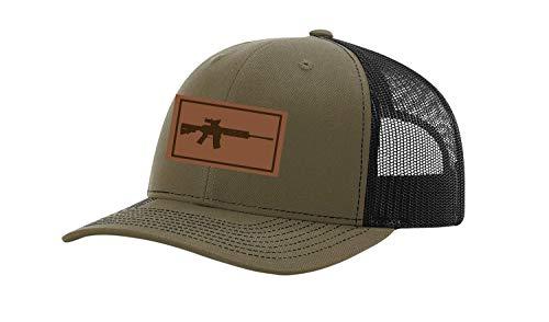 Patriot Pride Men's AR-15 Gun Laser Engraved Leather Patch Mesh Back 2nd Amenment Trucker Hat, Loden/Black