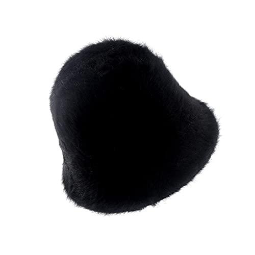 Niceeea - Cappello invernale caldo a secchiello per sport all'aria aperta, per sport all'aria aperta, con coniglio, colore solido, per donne e uomini, Nero , Etichettalia unica