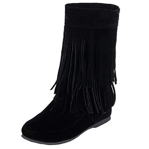 COOLCEPT Damen Stiefel Classic Keilstiefel Ankle Boots Fransen Stiefel Herbst Mokassin Stiefel Schuhe Black Gr 38 Asian