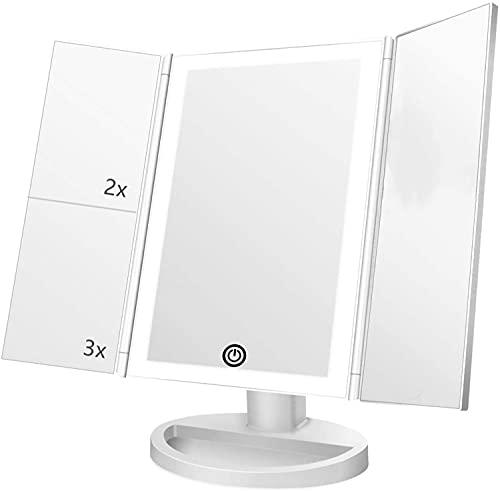 Espejo Maquillaje con Luz,HOMI Espejo de Maquillaje Tríptico con Aumento 1x, 2X, 3X,21 Luces LED Espejo Cosmético de Tocador, Adjustable 180º,Mejor Regalo (Blanco)