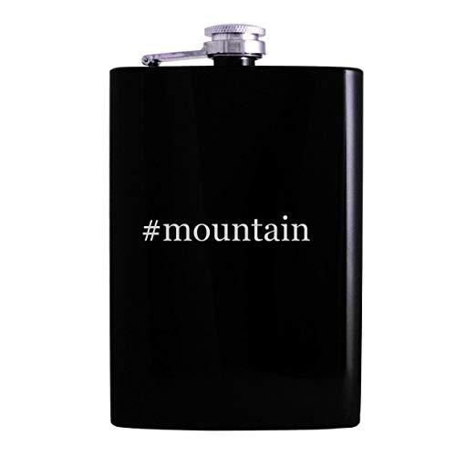 #mountain - 8oz Hashtag Hip Alcohol Drinking Flask, Black