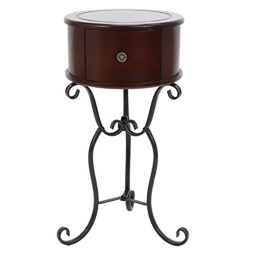 Décor Therapy Wilson 1-Drawer Wood and Metal Round Side Table, 14x14x27.75, Espresso