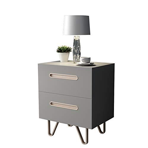 Mesita de Noche, Doble cajón con Mango Oculto, diseño Moderno único Mesa Auxiliar para Dormitorio, Sala de Estar y apartamento
