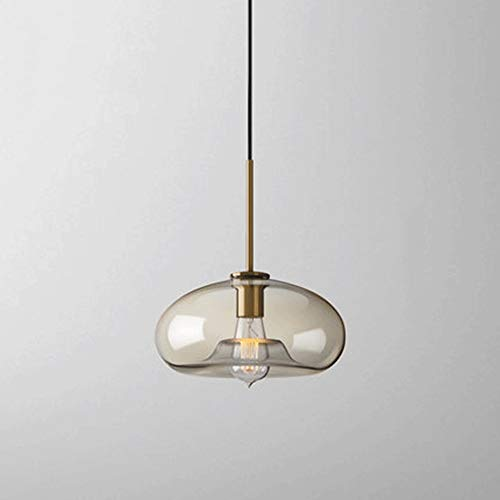 Creative Glass Pendant Light Industrial Metal Base Barra de cristal transparente Shade Lámpara colgante Retro Lámparas de techo AC110V - 240V [Clase de energía A ++]