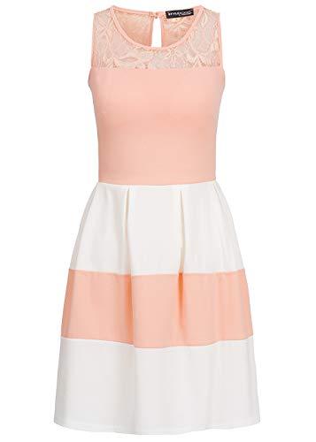 Styleboom Fashion® Damen Kleid Spitze gestreift schulterfrei rosa Weiss, Gr:S