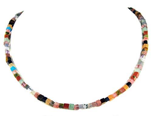 Halsschmuck Edelsteinkette aus verschiedenen Edelsteinen in Würfelform Damen