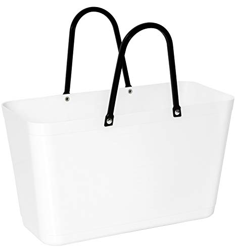 Hinza Kunststofftasche Tasche groß 15 L weiss mit Henkel 41,5x44x18cm Kunststoff Shopper Plastik Tragetasche Mehrweg Shoppingbag Einkaufstasche Einkaufskorb BPA-frei stapelbar Swedish Design