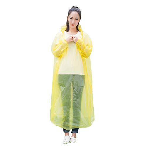 BRISEZZ 10PC Einweg Wasserdichter Lang Regenmantel Angelregenmantel Regenmantel-Baustelle Arbeitskleidung für Erwachsene mit Kapuze zum Wandern Camping Angeln Ausflugsaktivitäten (Gelb)