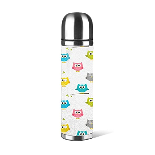 Botella de agua de 500 ml, diseño de búhos, botellas de acero inoxidable, a prueba de fugas, doble pared, mantener 24 horas frías 12 horas caliente