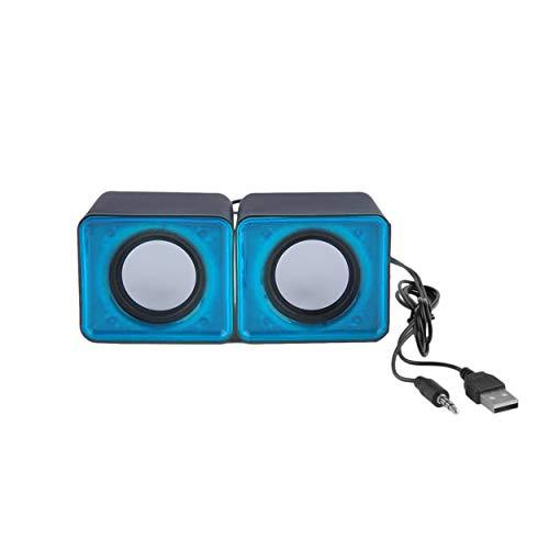 Lorenlli Portátil USB 2.0 Multimedia Ordenador de sobremesa Portátil Mini Altavoz Música Estéreo Cine en casa Parte Altavoz 3.5mm Jack