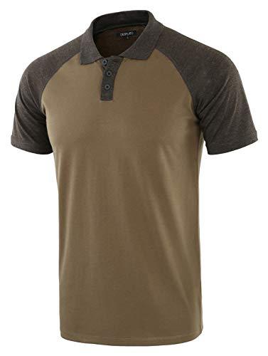DESPLATO Men Casual Basic Active Short Raglan Sleeve Jersey Henley Polo T Shirt Army/H.Charcoal L