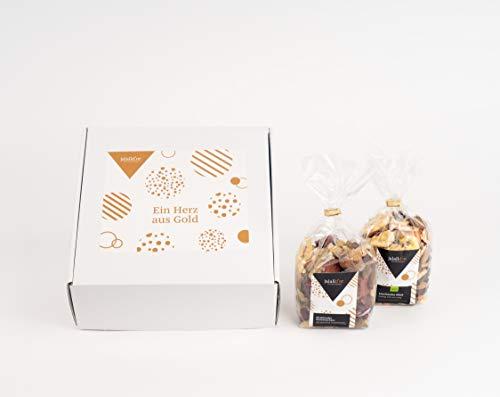 """Jalall D'Or Geschenkbox """"Ein Herz aus Gold"""" Nüsse Trockenfrüchte Schokolade 2 Geschenktüten"""