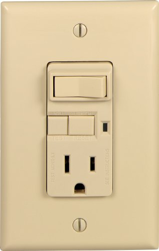EATON Wiring VGFS15V-MSP 15-Amp 125-Volt Combination Ground Fault Circuit Interrupter with 20-Amp Rated Feed-Through Single-Pole Switch, Ivory