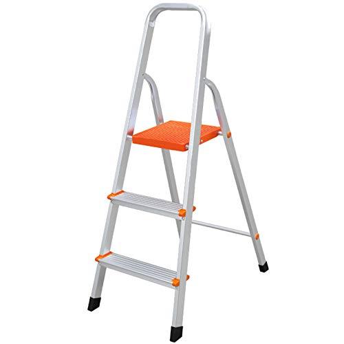 LWH Escaleras Plegables Antideslizantes portátiles de Aluminio de Cuatro Pasos con Mango de Goma Capacidad de 330 libras/150KG Escalera casera Plateada 48X82X135CM