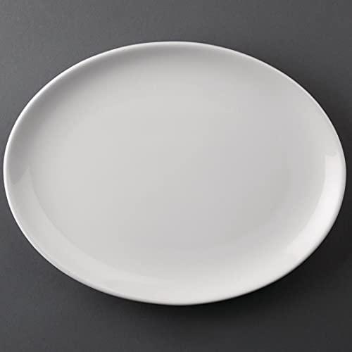 Athena Hotelware Lot de 12 assiettes ovales en porcelaine Blanc 254 x 197 mm