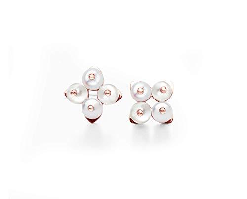Shell pearl earrings by Majade. June birthstone earrings, milky white pearl earring, delicate white pearl jewelry. Handmade 14k rose gold earrings. Simple minimalist dainty earrings. Small cross studs