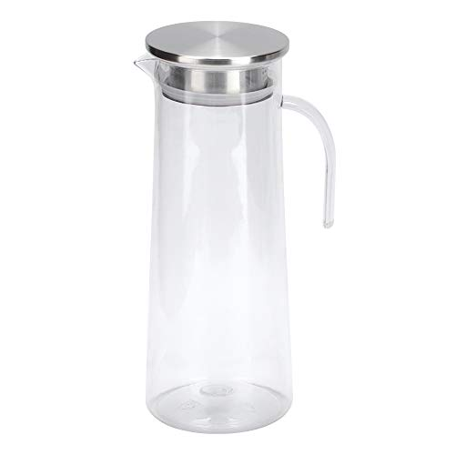 Surebuy Jarra de Agua, 10 x 3.9 x 3.5 Pulgadas Jarra de Jugo Botella acrílica de Agua fría de 1.2L Transparente para Preparar y Servir Bebidas frías o Bebidas Calientes(Cubierta de Acero Inoxidable)