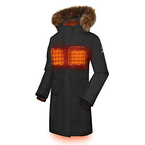 ORORO Women's Heated Parka Jacket with SMAWARM Insulation (Battery Included)(XL) Black