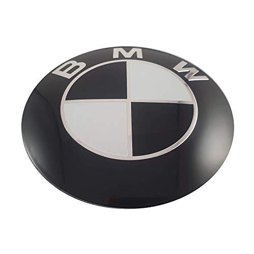 LUDOSTREET ref0003 Logo Emblema Insignia Anagrama Llanta Rueda Auto Coche Compatible con 68mm 5 Pins (Negro - Blanco)