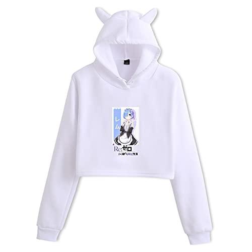 jiminhope Anime Re: Life in a Different World from Zero Oreja de Gato Sudadera con Capucha de Manga Larga Tops recortados Rem Ram Pullover Mujeres Niñas Sudadera con Capucha Kawaii