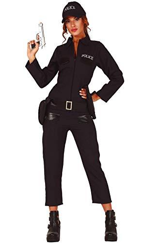 Guirca Costume Vestito Abito Travestimento Carnevale Donna Adulto POLIZIOTTA Americana, Police Woman, Militare, Agente di Polizia Donna (Taglia S (36-38))