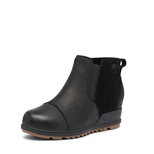 SOREL Women's Evie Pull-On Rain Boot — Black — Waterproof Suede Leather — Wedge Ankle Booties — Size 8.5