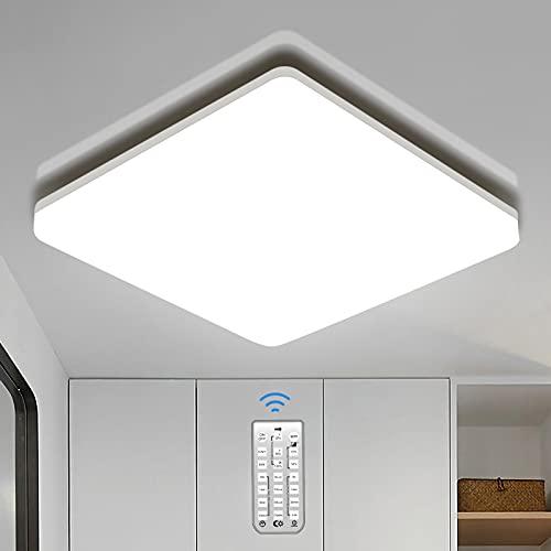 Oeegoo 18W 1800LM Lámpara de techo LED con Detector de Movimiento, Plafón LED de Techo Regulable con Mando, IP54 Luz techo cuadrada para Baño Pasillo Balcón Sótano Escalera Garaje, Blanco Neutro 4000K