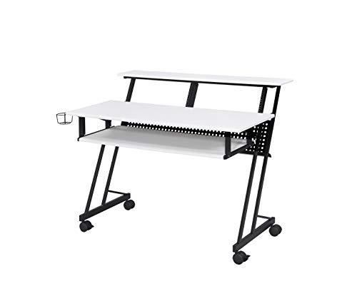 Acme Furniture Suitor Music Recording Studio Desk, White & Black